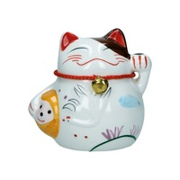 tirelire chat maneki-neko ceramique  b 10cm