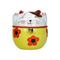 tirelire chat maneki-neko ceramique peint a la main b 10cm