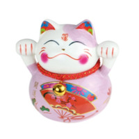 tirelire chat  ceramique cat b peint a la main  10 cm - rose pale