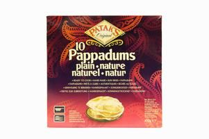 10 papadums nature pataks 100g
