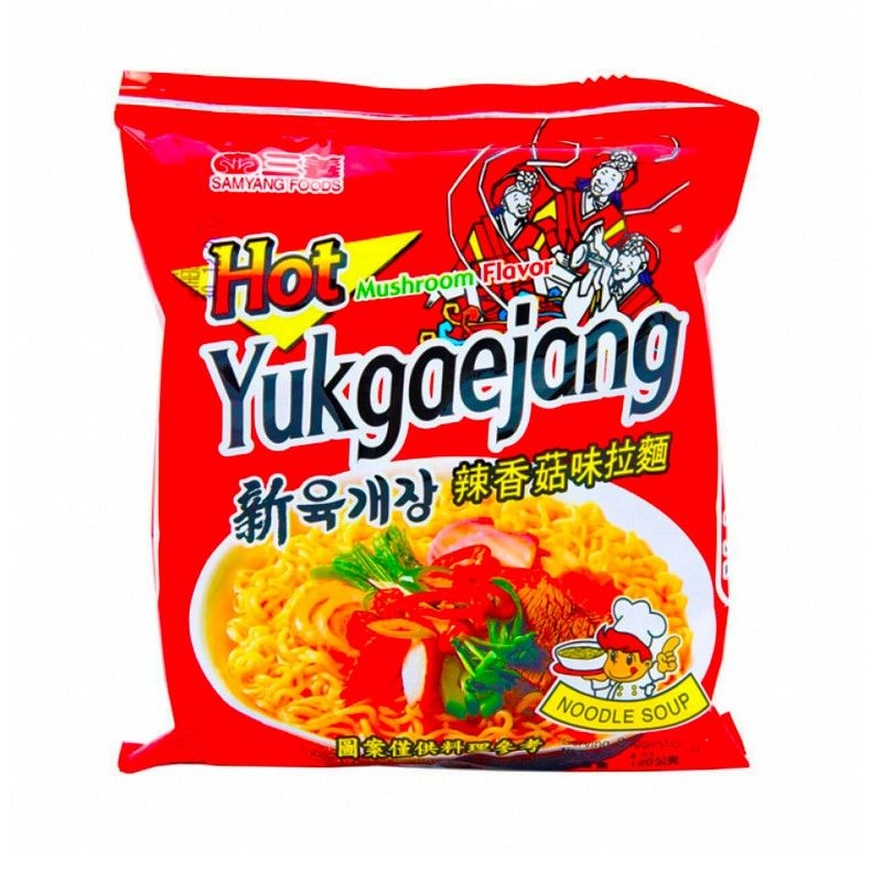 nouille coreene epicés aux champignons sam yang yukgaejang 120 g