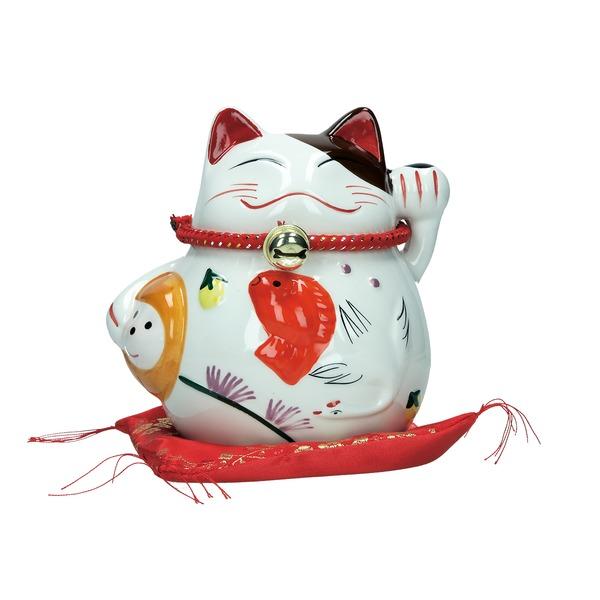 tirelire chat maneki-meko ceramique a 13cm - poisson