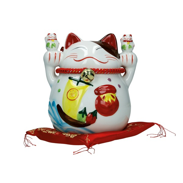 tirelire chat maneki-meko ceramique b 13cm