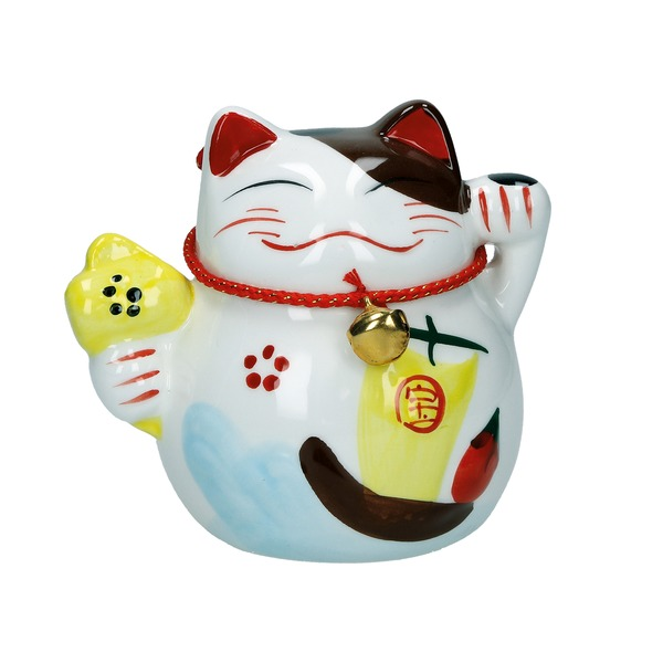 tirelire chat maneki-neko ceramique d 10cm