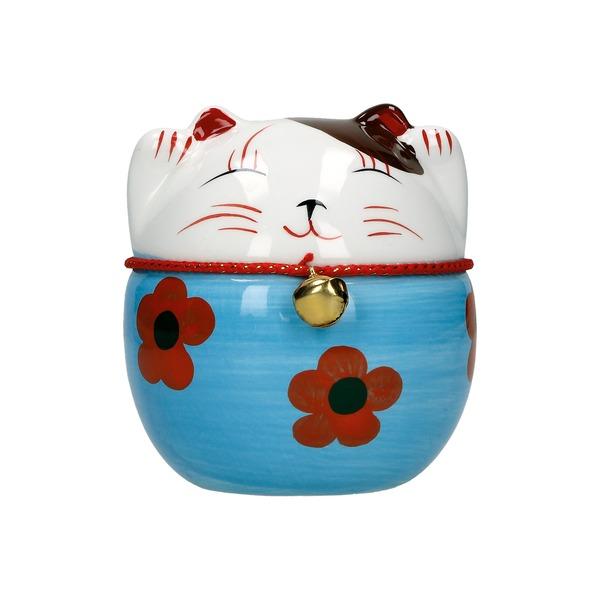tirelire chat maneki-neko ceramique peint a la main a 10cm - bleu