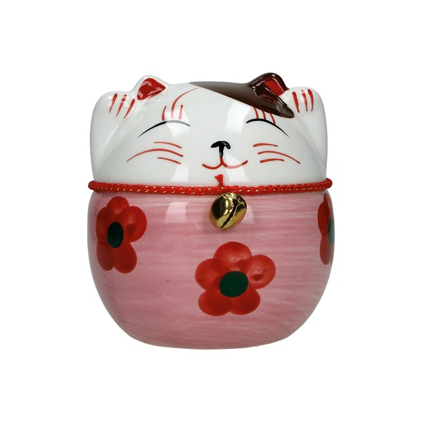 tirelire chat maneki-neko ceramique peint a la main c 10cm - rose