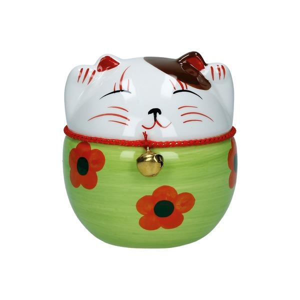 tirelire chat maneki-neko ceramique peint a la main d 10cm - vert pomme