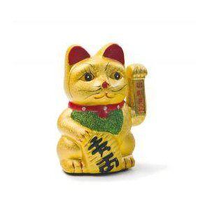 porte bonheur chat dor 233 17 5cm