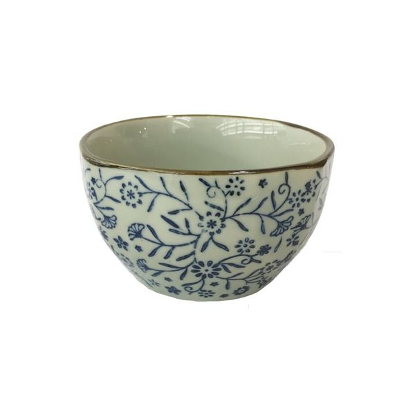 assiette 18cm motif fleur bleu