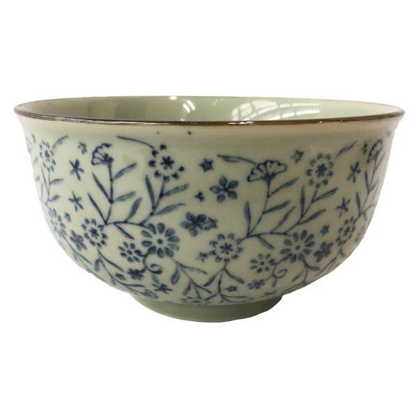 bol 12.7cm motif fleur bleu
