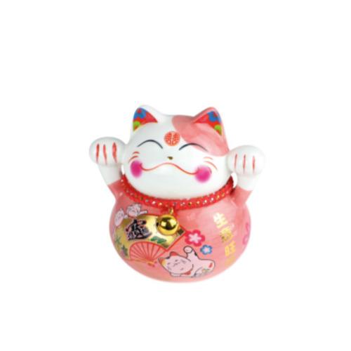 tirelire  chat ceramique   peint a la main 10 cm - rose