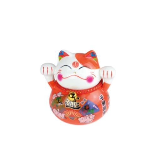tirelire chat plutus ceramique cat c peint a la main 10 cm - orange