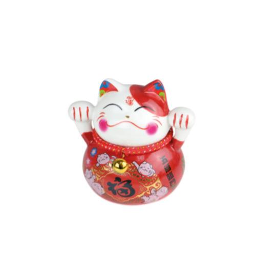 tirelire chat ceramique peint  d  la main 10 cm - rouge