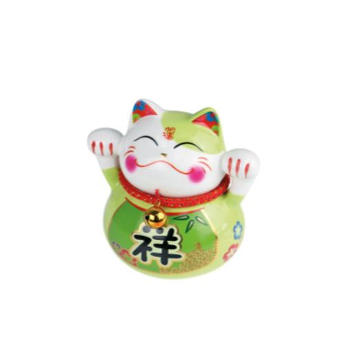 tirelire chat ceramique  k peint a la main 10 cm - vert