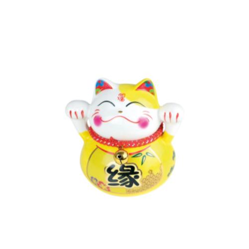 tirelire chat ceramique cat p peint a la main 10 cm - jaune