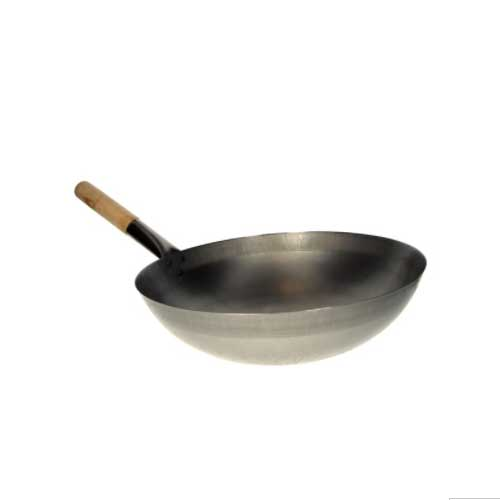 wok a fond rond en acier  32-35cm