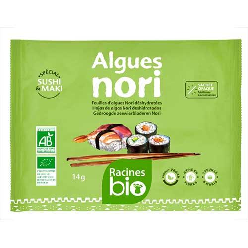 algues nori bio pour sushi et maki 5 feuilles 14g