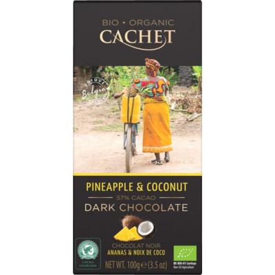 chocolat noir bio 57% ananas & coco tablette 100g