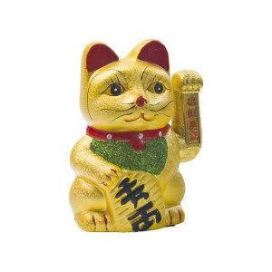 porte bonheur chat doré 17.5cm