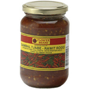 puree piment rouge sambal rawit rood 375g flower brand