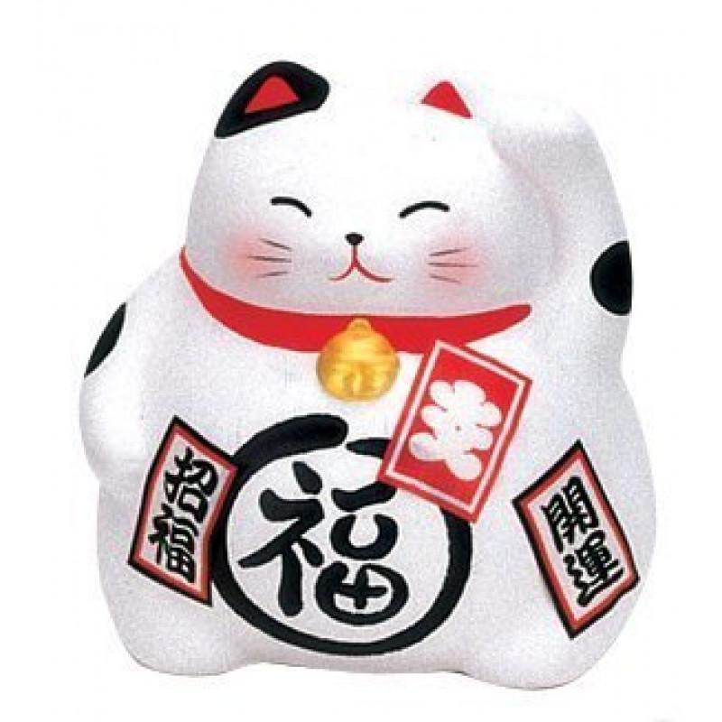 chat porte bonheur blanc 9cm