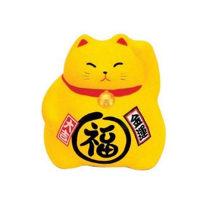 chat porte bonheur plus d'argent jaune 9cm