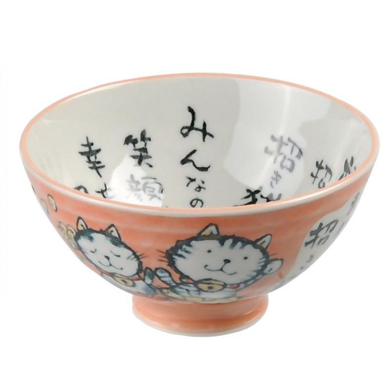 bol de riz japonais chat rose 11.5x6.2cm kawaii