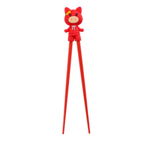 paire de baguette enfant rouge cochon 22cm