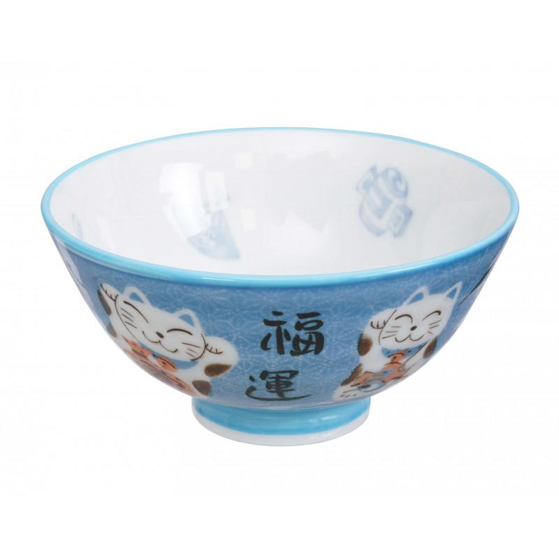 bol japonais chat bleu 11.2 x 6 cm kawaii