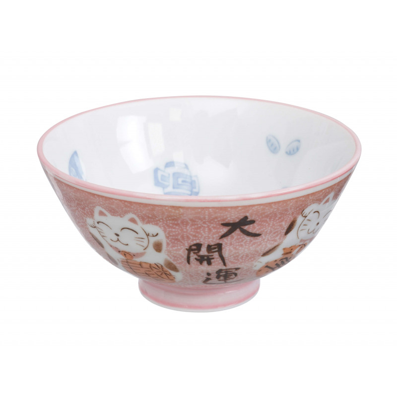 bol japonais chat rose 11.2 x 6 cm kawaii