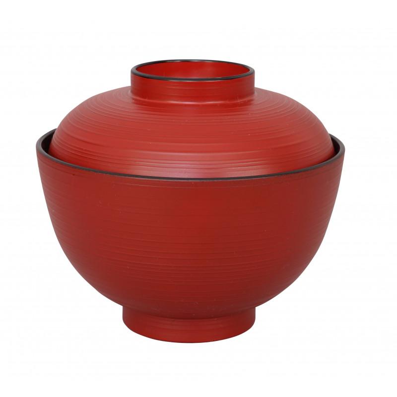 bol rouge et noir japonais pour riz abs 10.8 x 6.35 cm