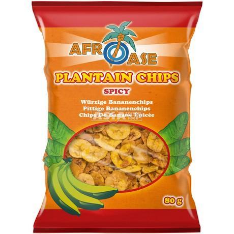 chips banane plantain epicé 80 g afroase